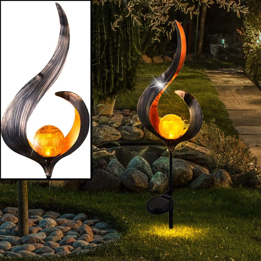 Garten Hof Weg Blume Dekorative Solar Lotusbl/üte aus Metall traumhafte Lichteffekte durch Bruchglasoptik angenehmes Licht