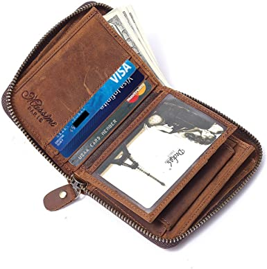 Men/'s Womens Vintage Leather Credit Card Holder Bifold Wallet Money Holder Purse