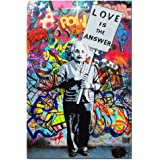 """Framed Banksy Art Einstein """"Love is Answer"""" Canvas Print Painting Colorful Figure Street Graffiti Wall Art Pics for Living Room Decor Ready to Hang 1 PCS (16x24inch(40x60cm))"""