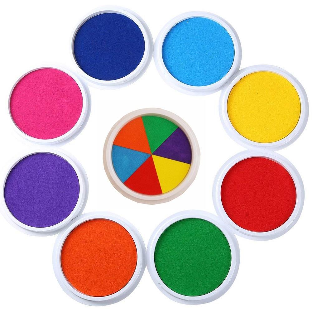Tampone di Inchiostro per DIY Scrapbooking Pittura per Bambini Uso Su Carta Legno Tessuto Dellimpronta Digitale Timbri di Gomma Enjoyall Tamponi per timbri Set di 9 colori