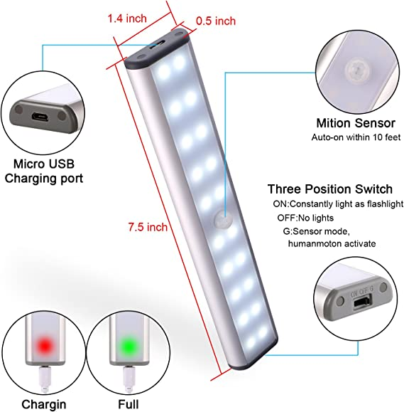 【USB Rechargeable】Motion Sensor Closet Lights DIWENHOUSE Stick-on Anywhere Wireless 20-LED Light Strip Safe Lights for Under Cabinet Wardrobe Cupboard Stairs White Light