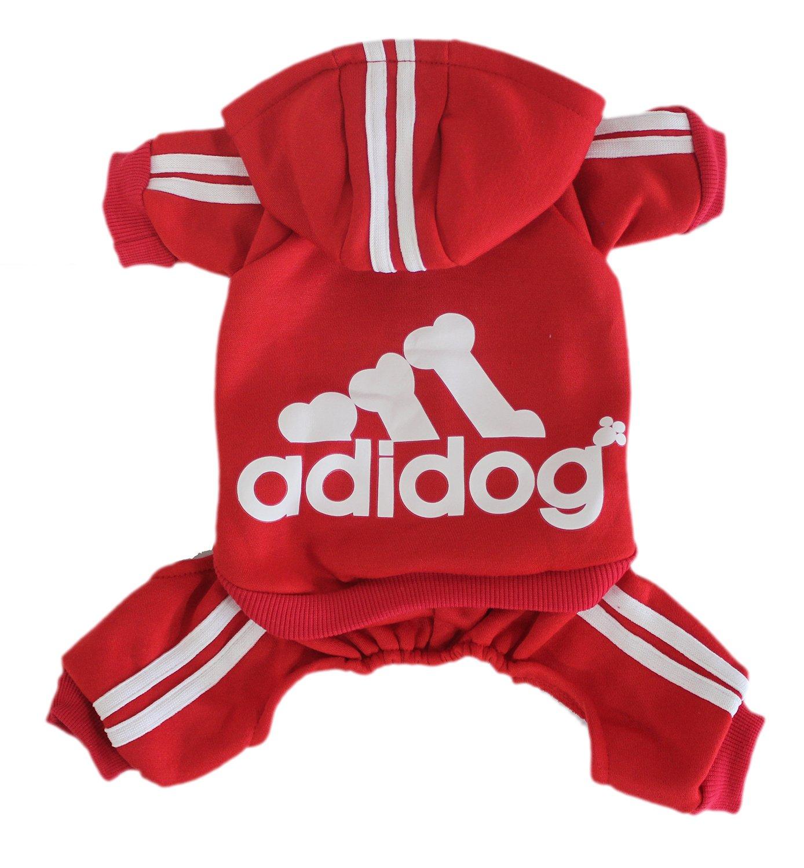 Scheppend Adidog Pet Clothes for Dog Cat Puppy Hoodies Coat Winter Sweatshirt Warm Sweater,Red XXL