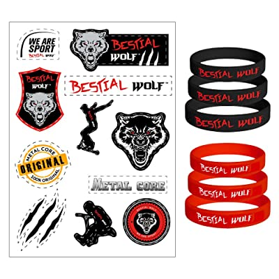 11stickers bestial Wolf + trois tailles rouges bracelets et trois tailles noires bracelets