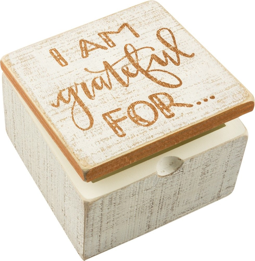 PBK Decorative Rustic Wooden Square Hinged Box I am Grateful For Keepsakes Jewelry Trinkets Everyday Home Decor Fall Thanksgiving Dinner Office Memories Treasures Storage Organizer 4''x4''x2.7''