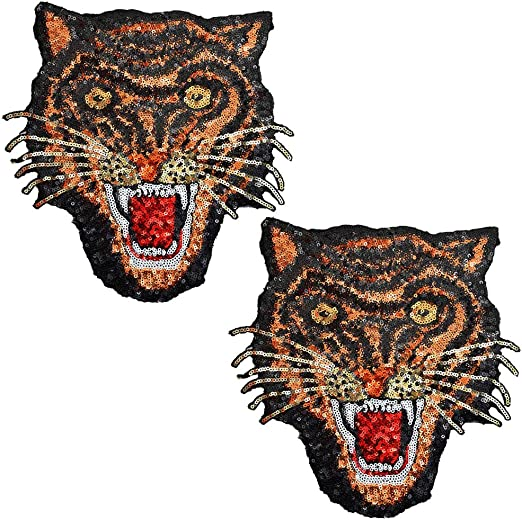 Black,Gold,Brow Trim Fringe Leopard Embroidery Iron On Applique Patch