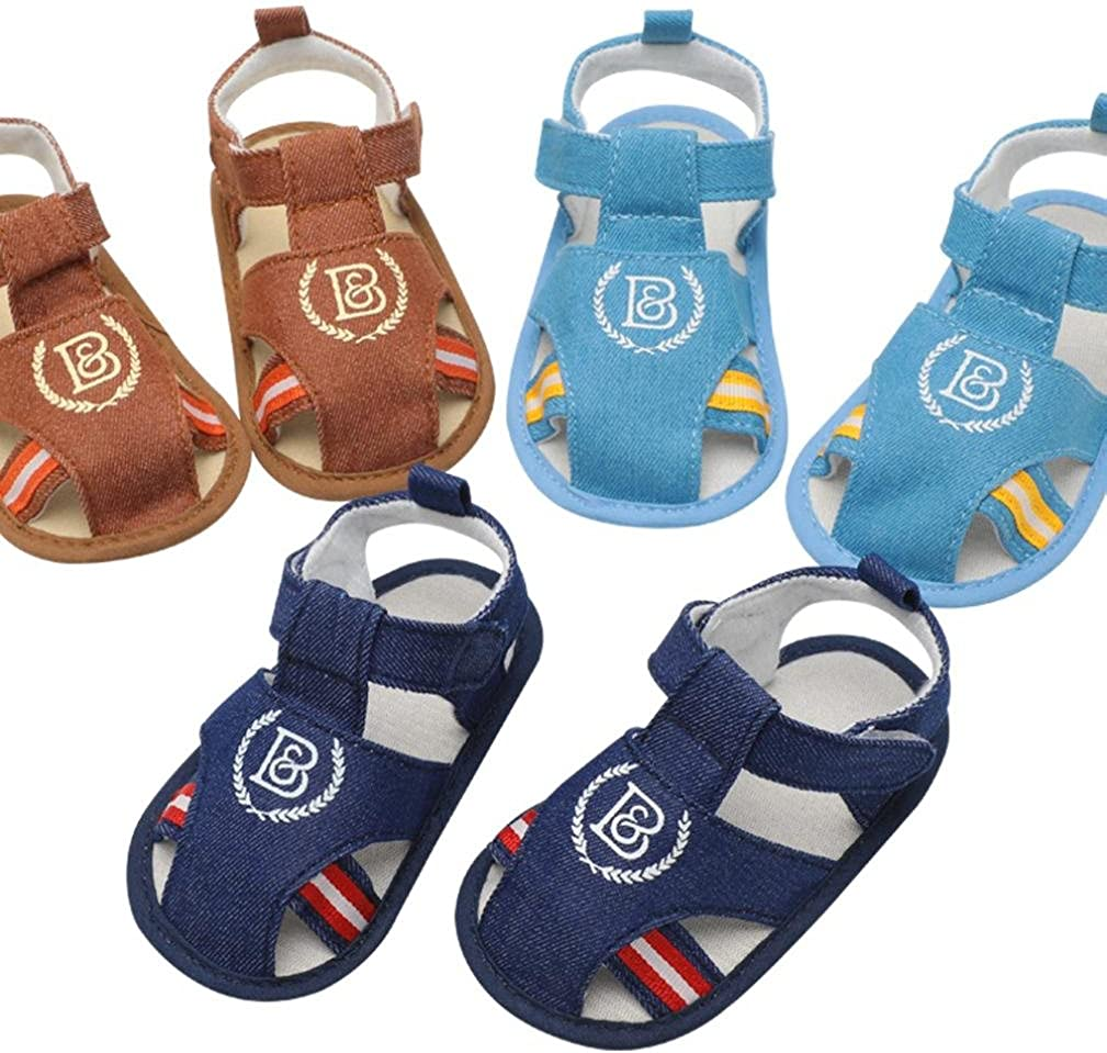 Moonker Newborn Infant Baby Boys Girls Closed Toe First Walking Shoes Soft Sole Anti-Slip Star Sandals 0-18M