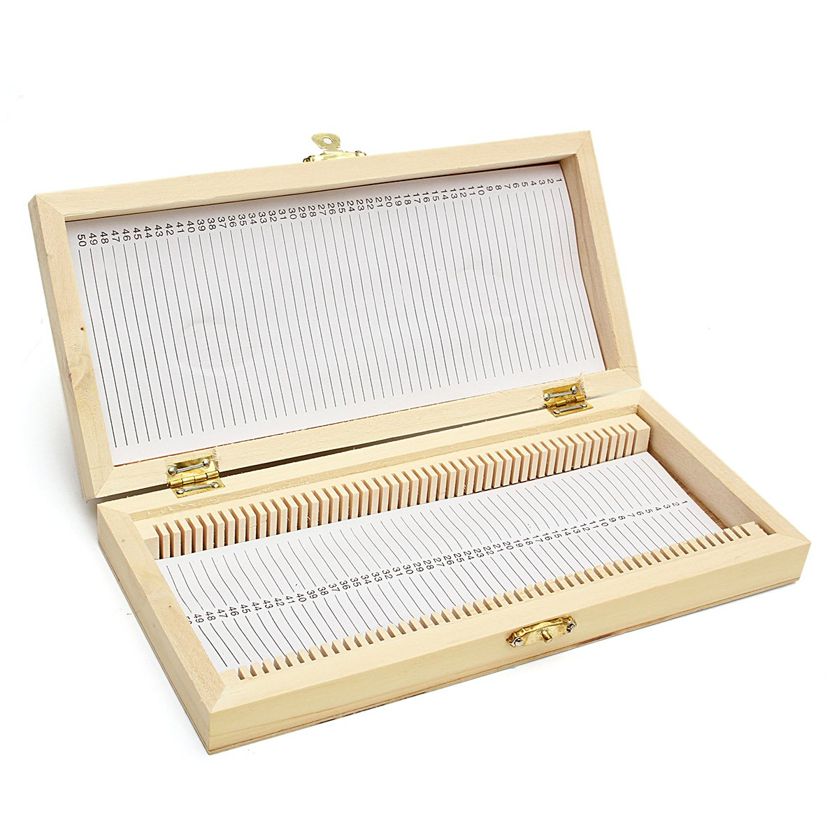 Tutoy Wooden Microscope Slide Box Case Cabinet Holder for 50pcs Slides Storage Kit