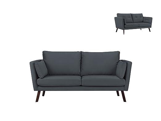 Mazzini Sofas sofá Fijo, Tejido, Gris, 185 x 88 x 91 cm ...