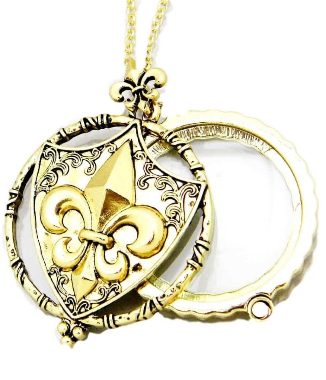 Fleur De Lis Shield Magnifying Glass Necklace D5 Coat Of Arms Ornate Gold Tone