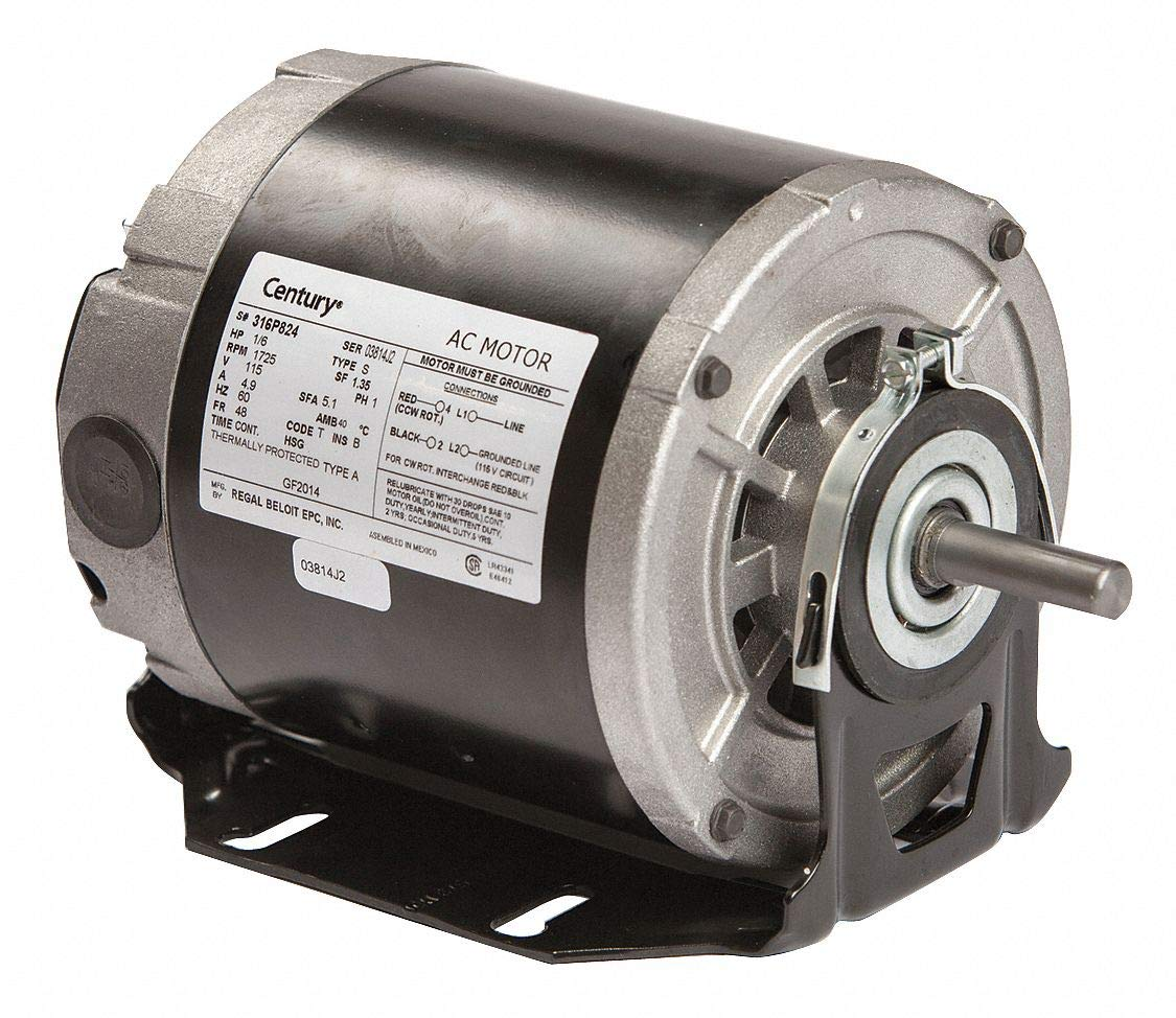 1/6 hp 1725 RPM 48 Frame 115V Belt Drive Furnace Motor Century # GF2014
