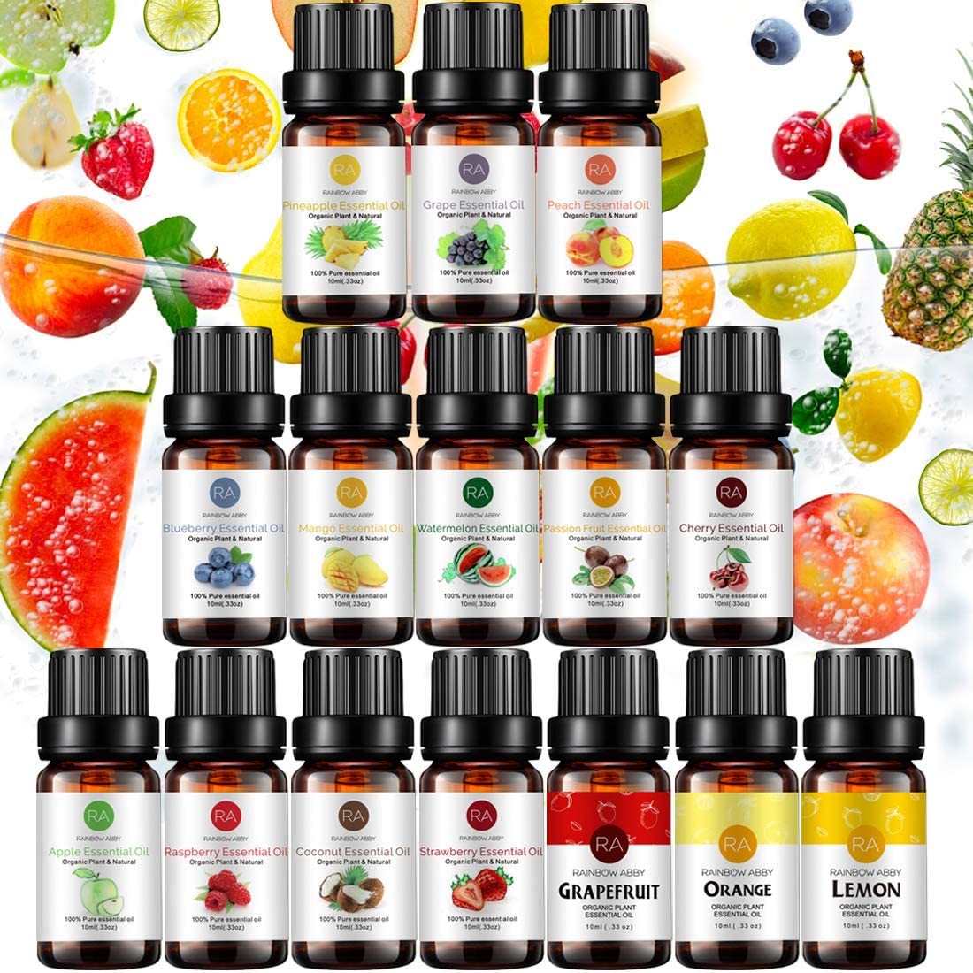 Top 15 Fruit Essential Oil Set 10ml, Aromatherapy 100% Pure Essential Oil (Grapefruit, Coconut, Peach, Strawberry, Mango, Apple, Watermelon, Orange, Lemon, Cherry, Pineapple, Blueberry, Grape, etc.)