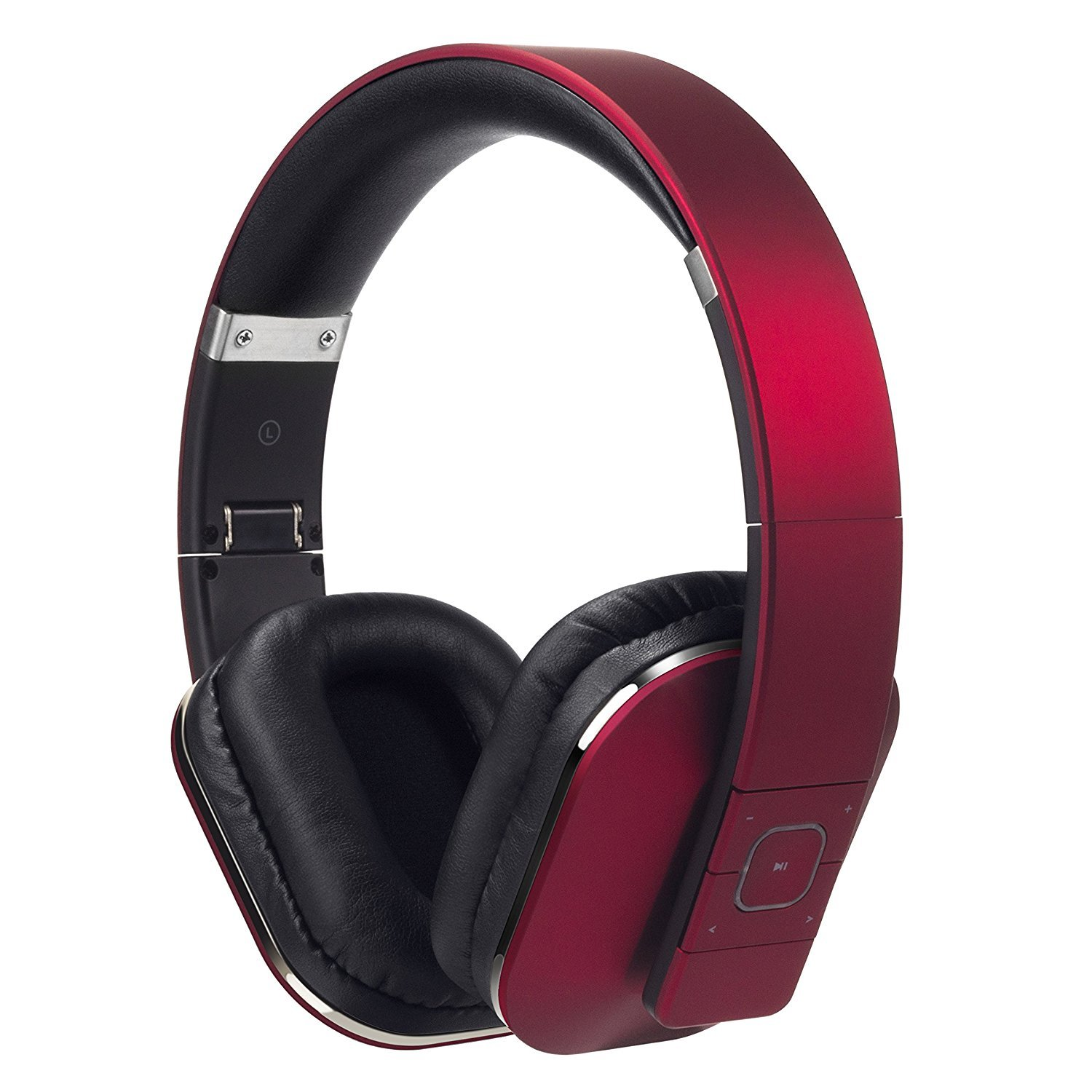 August EP650-Bluetooth Wireless Stereo Headphones - Over Ear Headphones with 3.5mm Wired Audio In-Leather Cushioned-Rechargeable Battery-NFC Tap To Connect and built-in Microphone-Compatible with Mobile Phones, iPad, Laptops, Tablets, etc. (Red) AUG EP650R