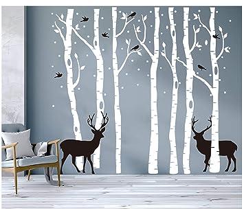 BDECOLL Set von 7 Wandaufkleber Birke weiß Wandaufkleber Baum Kinderzimmer  Big Baum Wand Aufkleber für Wohnzimmer