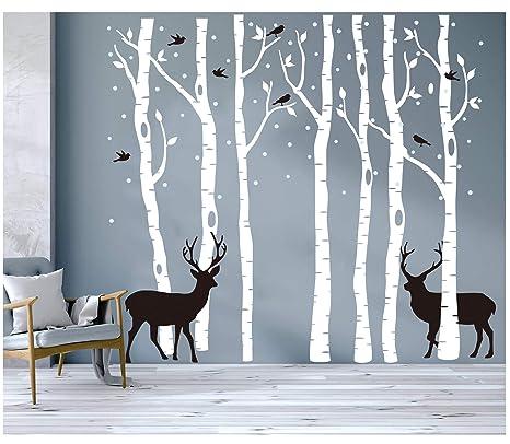 Blanc Vinyle Rocwart Grande For/êt Arbre Autocollant Mural pour Salon Enfants b/éb/é Chambre denfant D/écoration Murale Amovible muraux en Vinyle Blanc Family Tree 185,4/x 200,7/cm 185x200cm