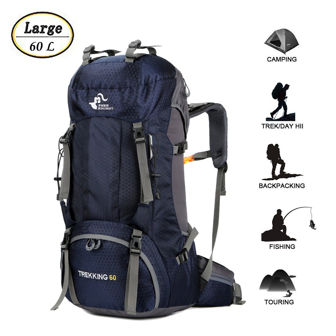 60L Waterproof Ultra Lightweight Hiking Backpack with Rain Cover,Outdoor Sport Daypack Travel Bag for Climbing Camping Touring Mountaineering Fishing (Navy Blue)