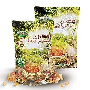 2 Packs of Elnasr 100% Natural Instant Gum Arabic Acacia Arabic Gum 300 gm (Powder) صمغ عربي