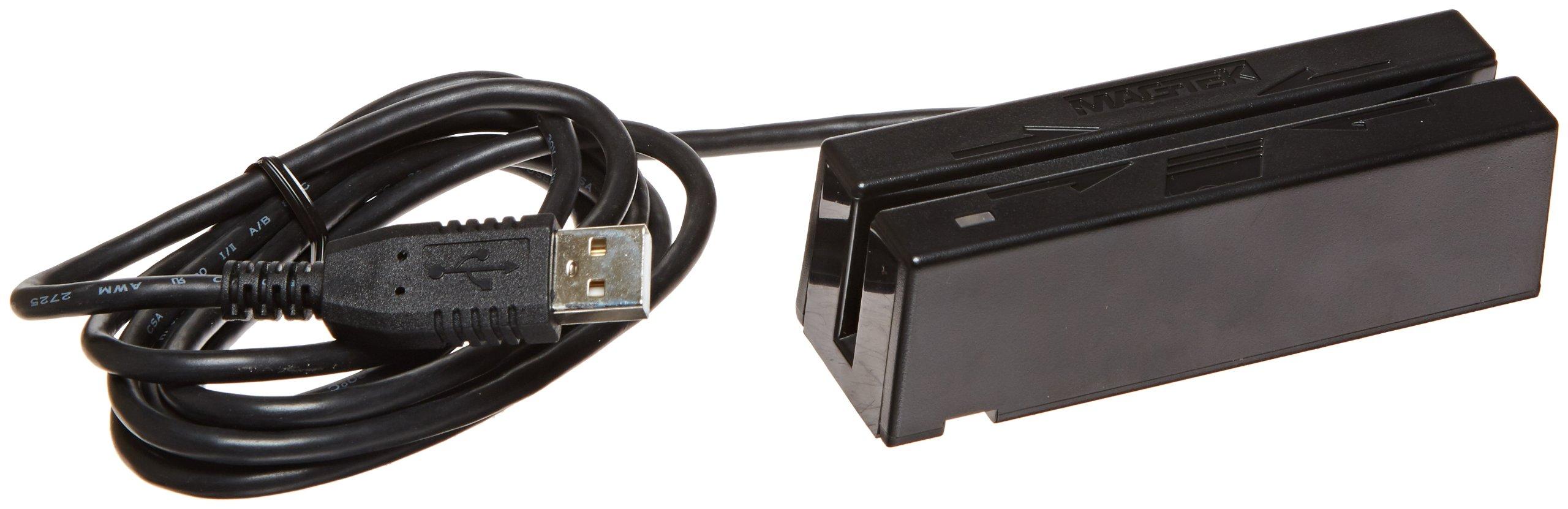 MagTek 21040145 SureSwipe Dual Head Triple Track Magnetic Stripe Card Reader with 6' USB Interface Cable, 60 in/s Swipe Speed, 5V, Black by MagTek