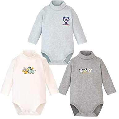 6f654cc63 Infant Baby Boys Girls Long Sleeves Thermal Onesies Turtle-Neck Bodysuit  Fall Winter Cloths Outfit