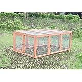 "Ardinbir 57x36x22"" Wood Backyard Runing Cage Coop Hutch Run for Chicken, Rabbit, Bunny, Pet, Small Animals"