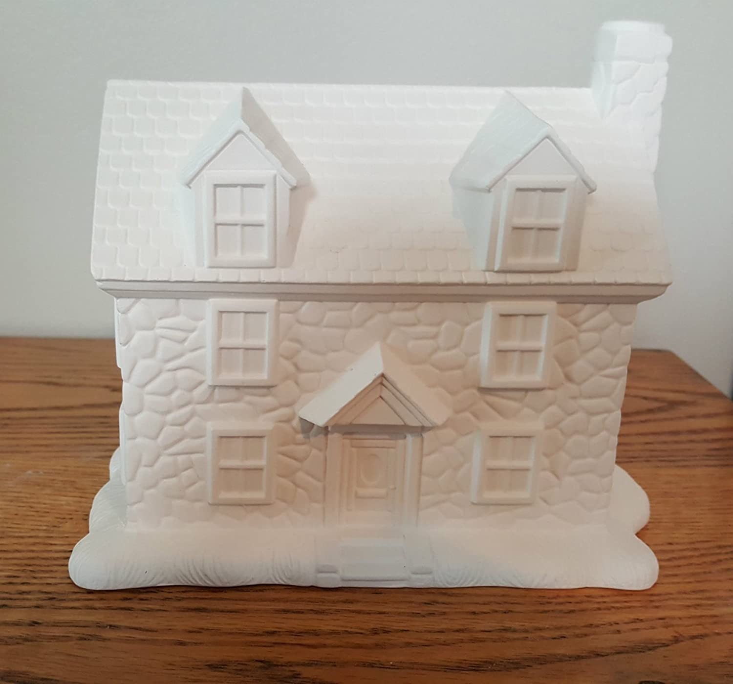 Two Story Stone House unpainted ceramic bisque ready to be painted Christmas Village