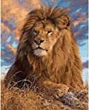 Frameless Lions Animals DIY pittura ad olio da numeri dipinto a mano su tela, Lions, Unframed