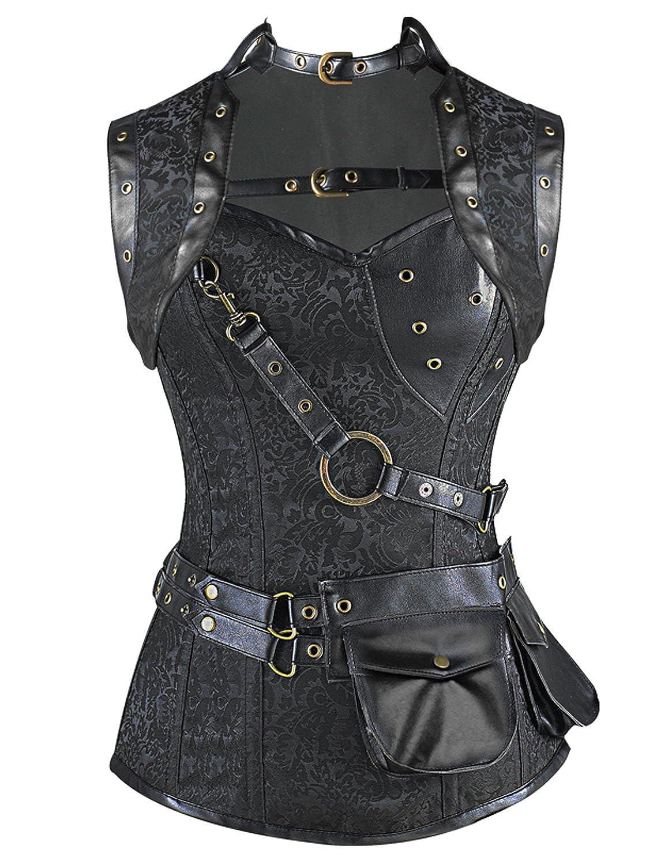 Burvogue Donna Gotico Retro 12Acciaio Ossa Steampunk corsetto Top 23081