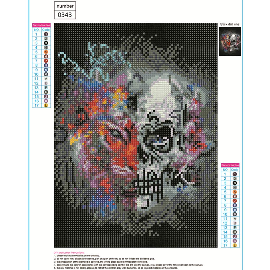 Graffiti L/öwe und Blumen Totenkopf 5D DIY Full Diamond Painting Stickerei Drill Mosaic Needlework Cross Craft Stitch Kit Home Decor