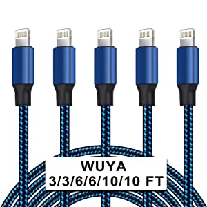 WUYA iPhone Charger, MFi Certified Lightning Cable 5 Pack (3/3/6/6/10FT) Nylon Woven with Metal Connector Compatible iPhone 11 Xs Max X 8 7 6S Plus