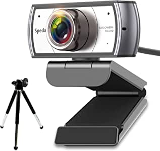 Spedal Webcam con Trípode 120° Gran Angular Full HD 1080P Cámara Web para Videoconferencia Webcam con Micrófonos Streaming para Youtube OBS Twitch Skype Compatible con Mac Windows 10/8/7