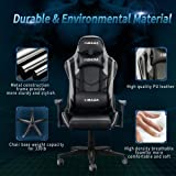 Hbada Gaming Chair Racing Style Ergonomic High Back Computer Chair with Height Adjustment, Headrest and Lumbar Support E-Sports Swivel Chair, Gray