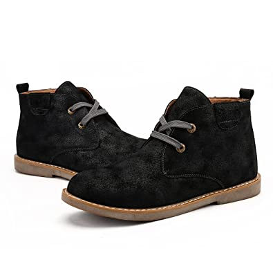 42d81a4b5 gracosy Men's Desert Boots Fur Lined Warm Winter Boots Suede Leather Snow Boots  Casual Derby Lace Up Ankle Chukka Boots Fashion Flat Comfort Office Formal  ...