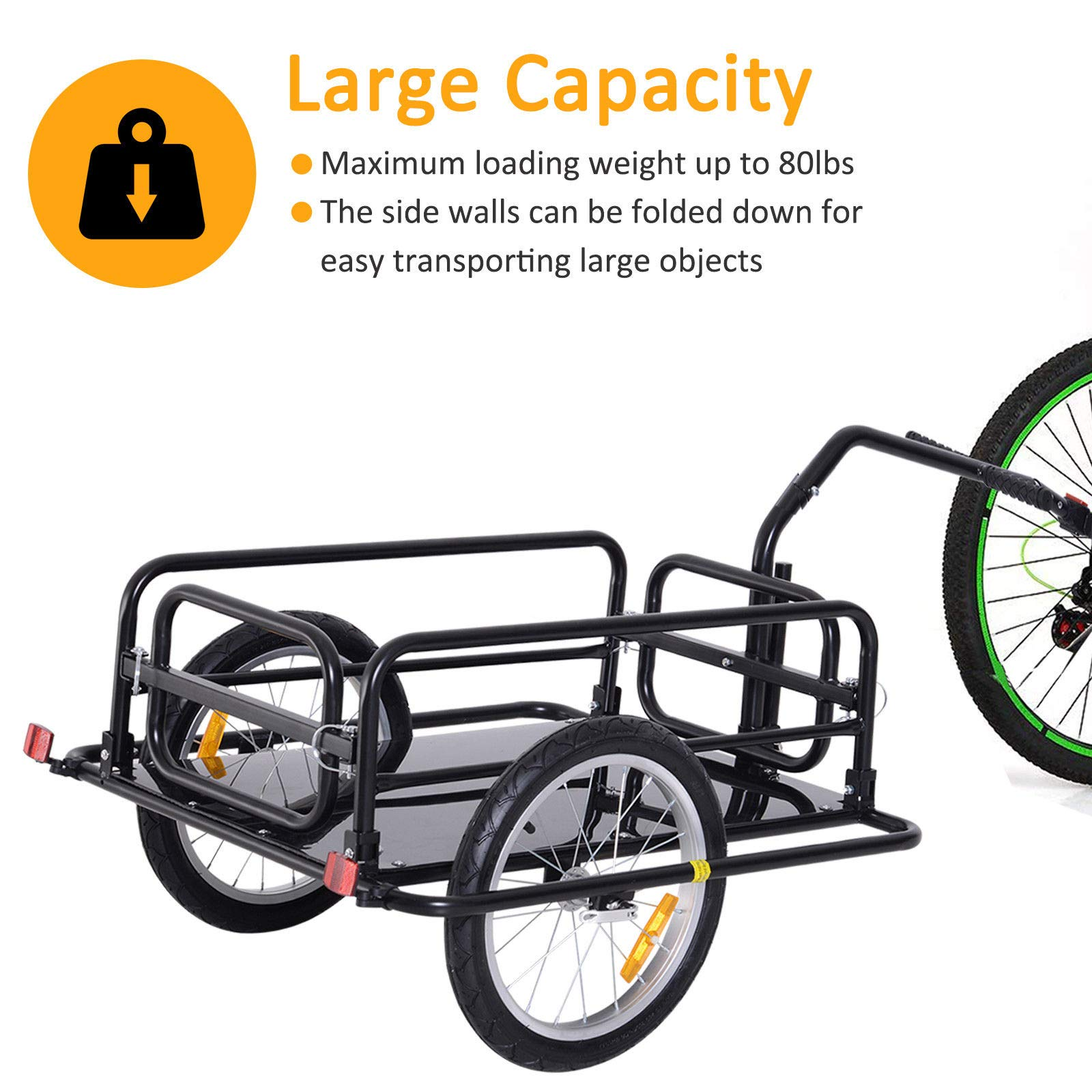 Bike Cargo Storage Cart and Luggage Trailer with Hitch Folding Bicycle Black by Caraya (Image #4)