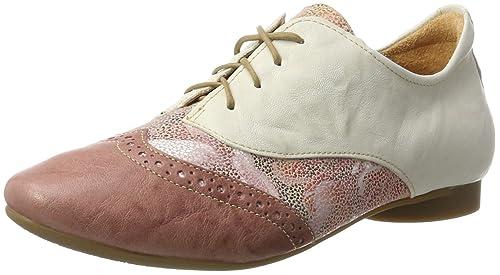 Think Guad, Zapatos de Cordones Derby para Mujer, Beige (Stone/Kombi 46), 38 EU
