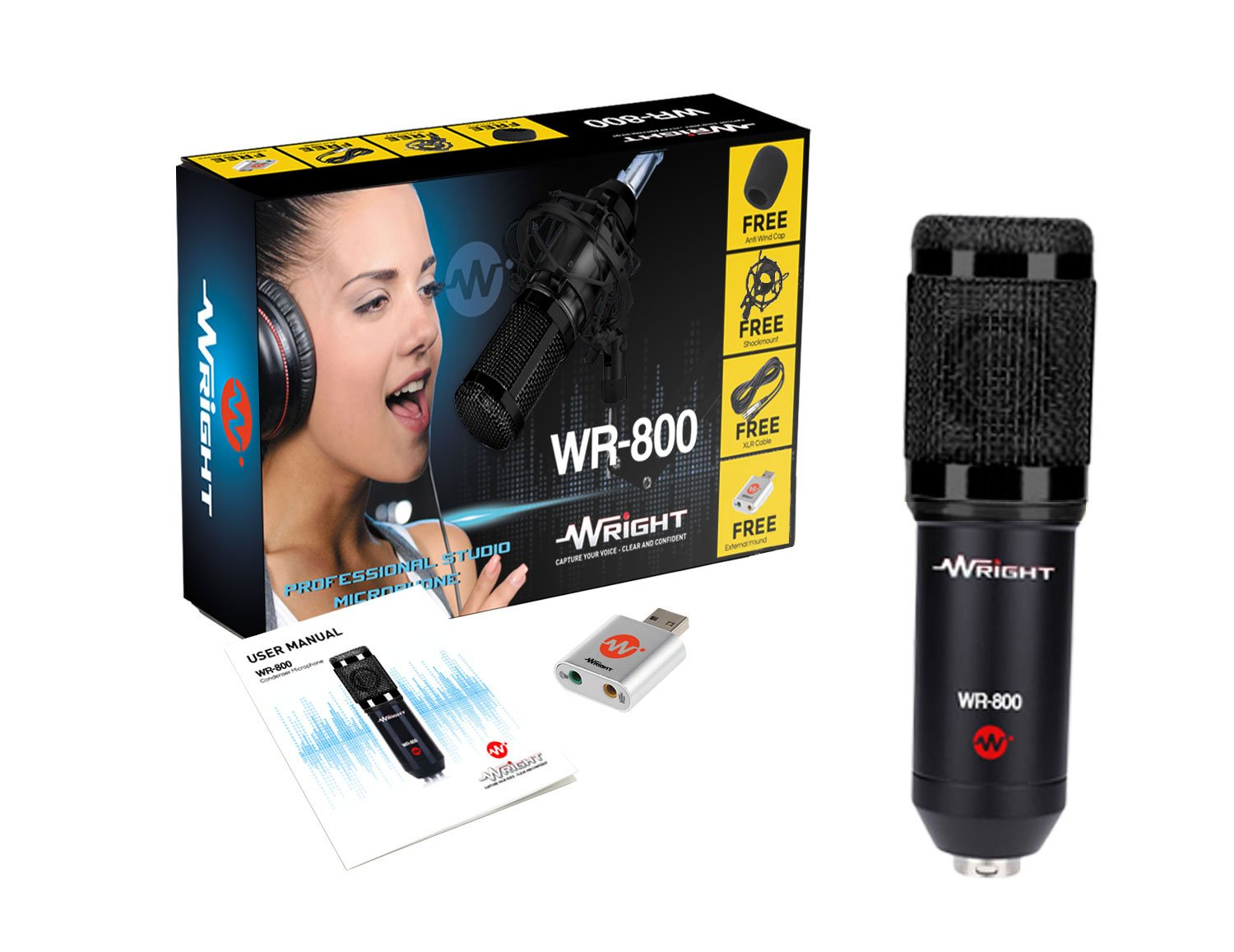 Wright WR 800 Condenser Microphone with Free USB Sound Card product image