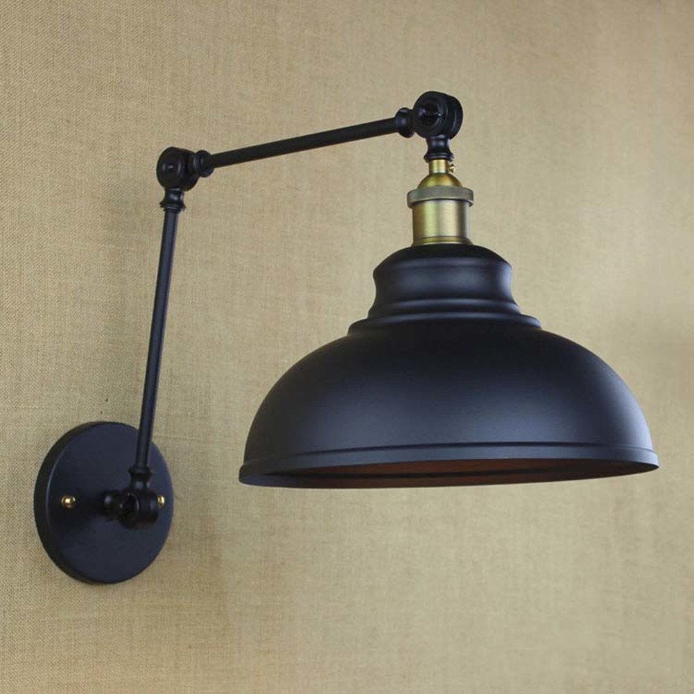BAYCHEER HL421576 Industrial Style 12 Wide Dome Shade Adjustable Swing Arm Wall Light Lamp Sconce In Black Finish Use E26 Bulb1