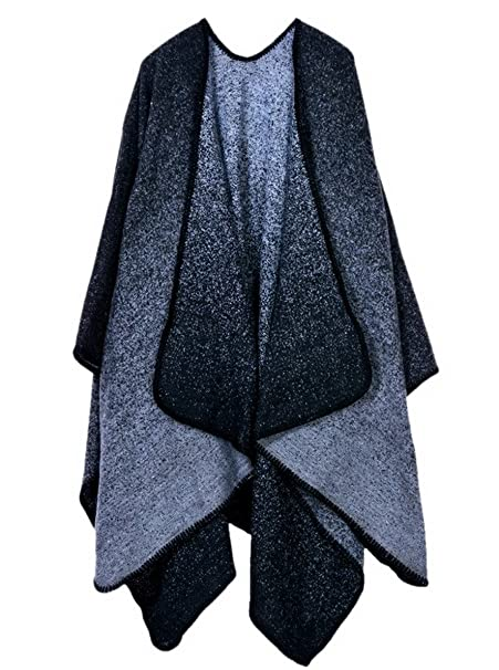 Aivtalk - Cárdigan de Punto para Mujer Capa de Invierno Suave Calentito Abrigo de Poncho Elegante Casual de Moda Manta Chal 128 x 148 CM - Negro Gris: ...