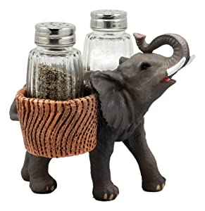 "Ebros Savanna Calls Trumpeting Elephant Glass Salt and Pepper Shakers Holder Figurine Decor Set 5.75"" L"