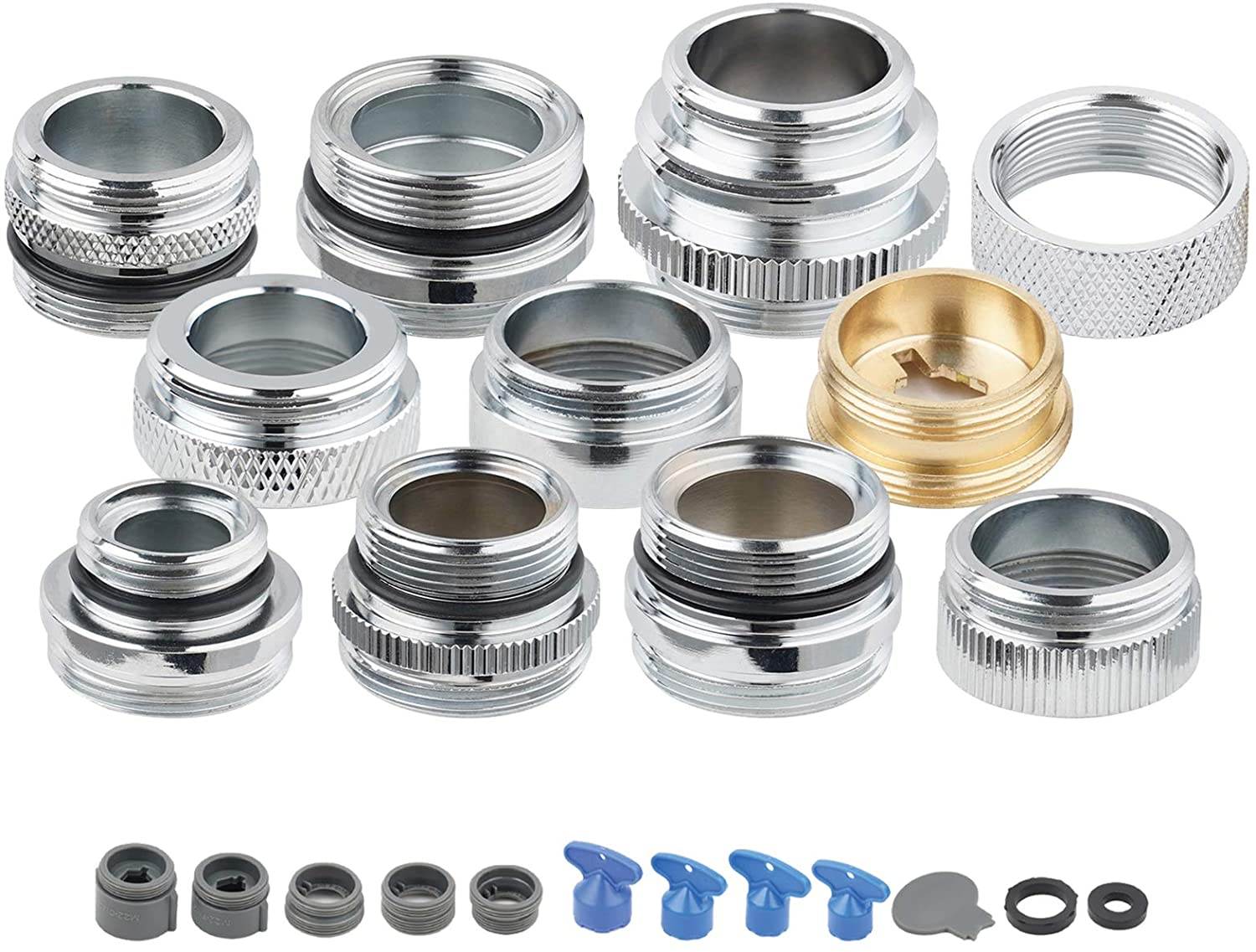 11 Pieces Faucet Adapter Kit, Hibbent Brass Adapters Set for Faucet Tap with Removable Aerator to Connect Garden Hose, Aerator, Water Filter Adapter for faucet sink- Male/Female-Chrome Finished