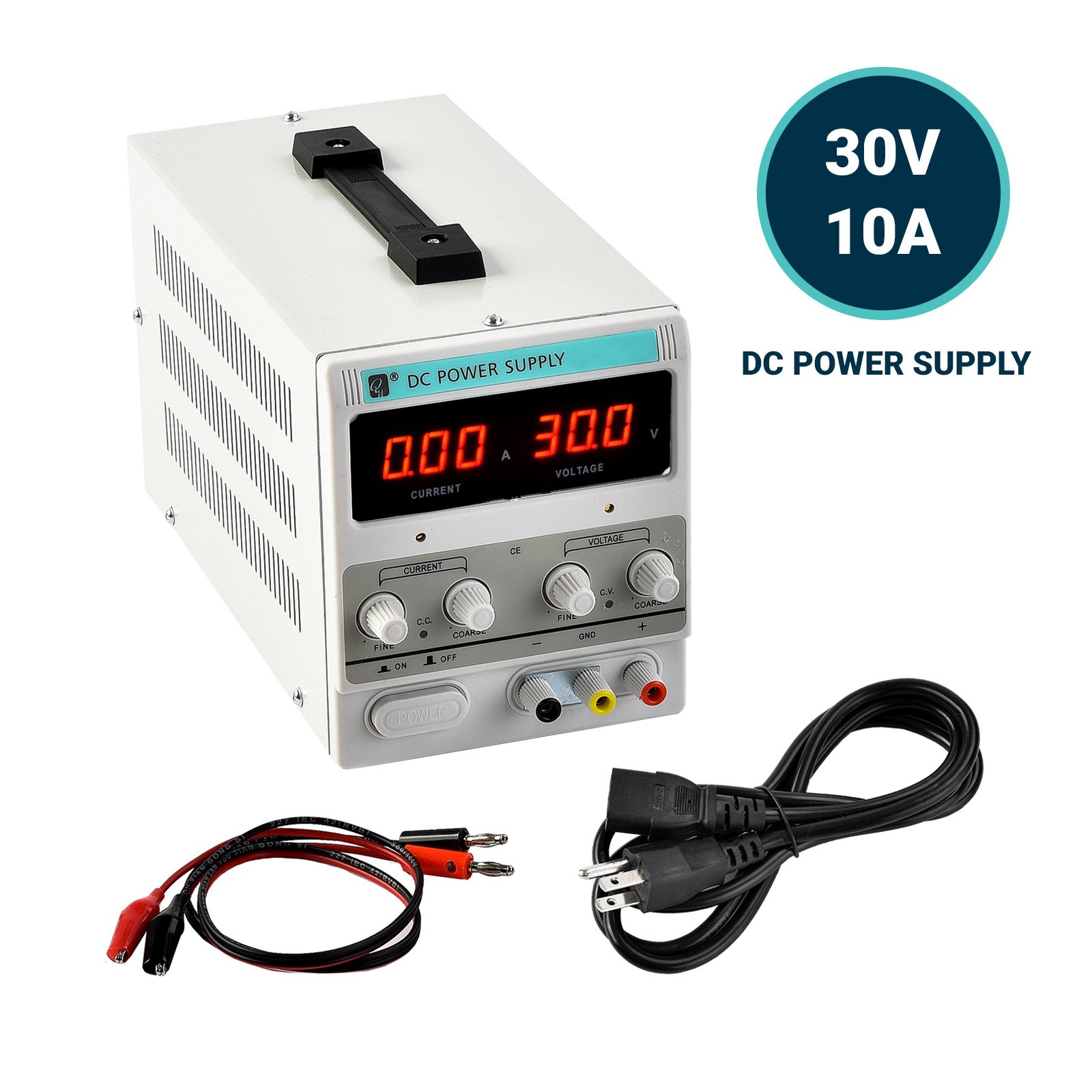 KUPPET Lab Home DC Power Supply-30V 0-10A US 110V-Variable Precision Adjustable-Digital Dual LED Display-w/Clip Cable+3 prong Plug DC Power Connector