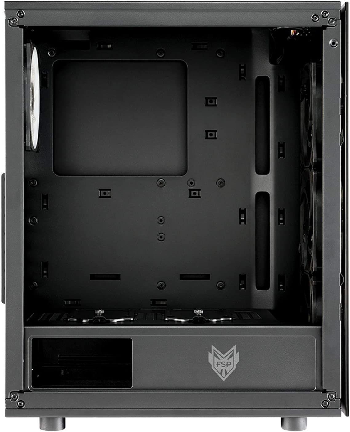 FSP ATX Mid Tower PC Computer Gaming Case with 2 Tempered Glass Panels with 4 Addressable RGB Fans CMT340