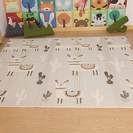Alfombra de Juegos Portable Antideslizante Alfombra Bebe para Ni/ño 200 x 180cm Ni/ña POXL Alfombra Bebe Gateo Grande