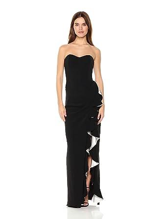 eea8ab117596b Badgley Mischka Women's Strapless Color Block Stretch Crepe Ruffle Gown,  Black/White, ...