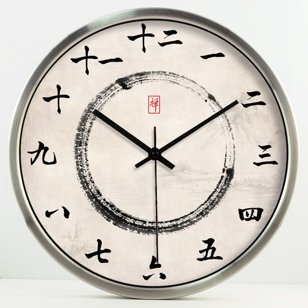 fwerq Zen Health Road Style Watches and Clocks Wall Clock Ink Decoration Hotel Salon of clock mode mute Quartz of ink (Color # 3, Size: 40cm)