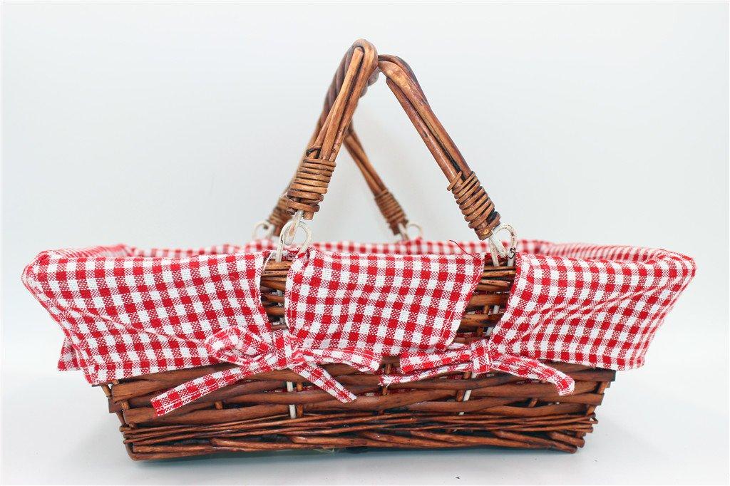Oypeip Wicker Basket Gift Baskets Empty Rectangle Willow Woven Picnic Basket Cheap Easter Candy Basket Storage Basket Wine Basket with Handle Egg Gathering Wedding Basket (Auburn) by Oypeip (Image #1)