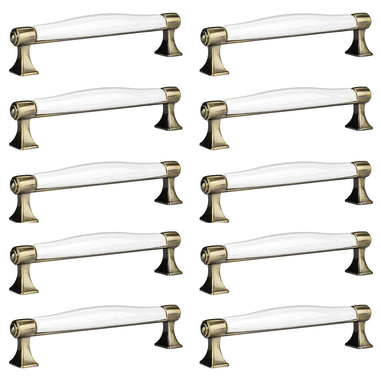 10 x SO-TECH/® Tirador de Mueble Aspecto Antiguo MARIE Tirador de Cocina Tirador Porcelana Acabado Lat/ón Antiguo Distancia Agujero 128 mm