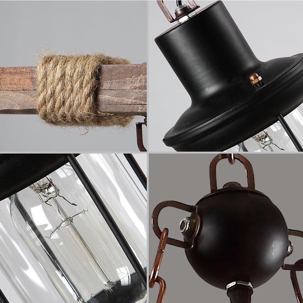 OOFAY Vintage Holz Kronleuchter 8 Kopf Vintage Industrial Style Decke Gro/ße K/üche Edison Retro-Stil Cafe Wohnzimmer Esszimmer Licht