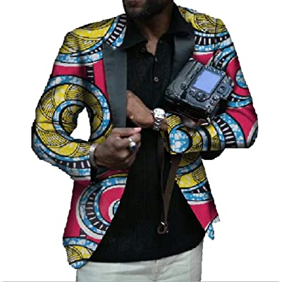 Abetteric Mens Floral African Cotton Designed Suit Jacket Blazer Coat