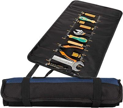 Tool Roll Organizer, 37 Pockets Tool Roll & Wrench Roll, Tool Roll Up Bag Wrench Roll Up Pouch for Craftwork Handyman Electrician (Blue)