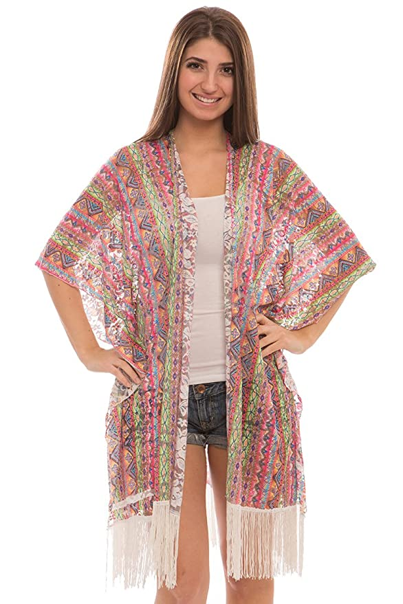 BYOS Womens Lightweight Allure Printed Lace Open Front Kimono Cardigan Beach Coverup W/ Fringes, Various Styles (Yellow Mustard Mixed Lacy Vintage)