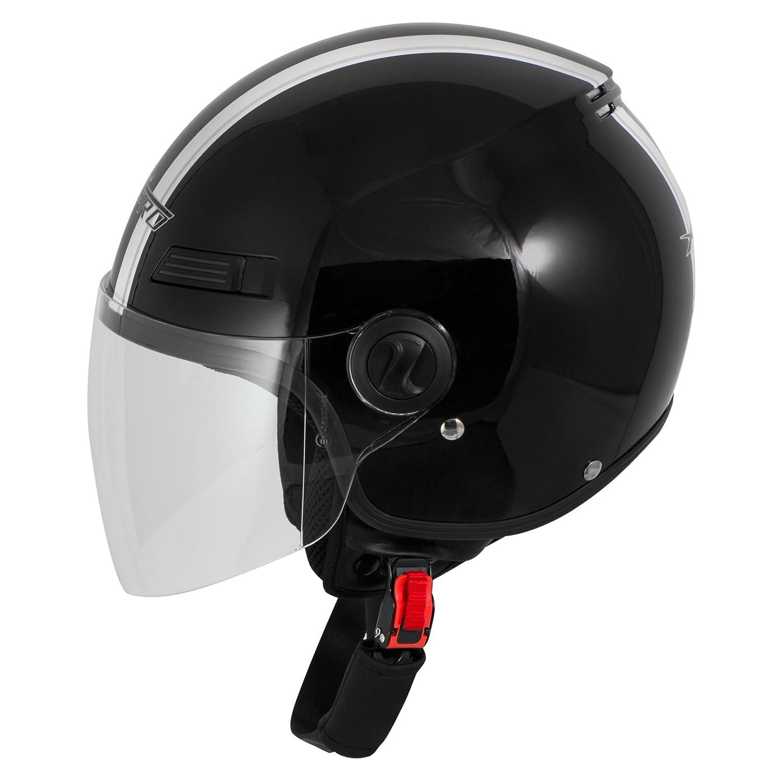 A-Pro Motorradhelm Motorrad Roller Offenes Jet Helm Viser ECE 22 05 Rot L
